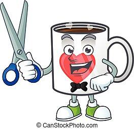 vriendelijk, stijl, kapper, liefde, kop, spotprent, koffie, karakter, koel