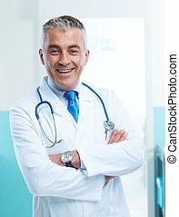 vriendelijke arts, op, ziekenhuis