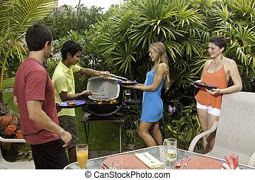 vrienden, een barbecue, feestje