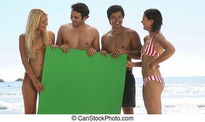 vrienden, groene, plank, th, vasthouden