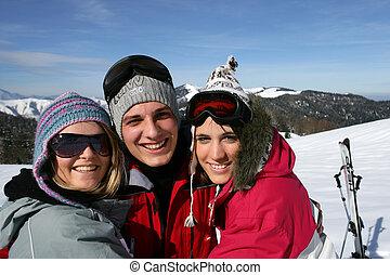 vrienden, groep, vakantie, ski
