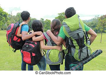 vrienden, groep, wandelende