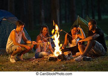 vrienden, kamperen