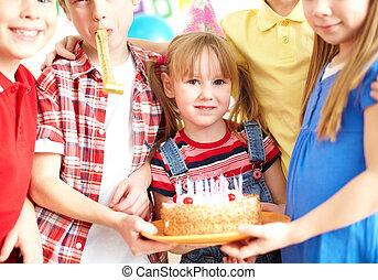 vrienden, met, taart