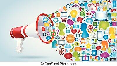 vrienden, network., groep, megafoon, praatje, aandeel, tussen, verbinding, ideeën, via, chat., boodschap, pictogram, data., symbols., toepassing, verwisselen, web., discussie, communiceren
