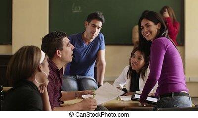 vrienden, op, school, groep, in, universiteit