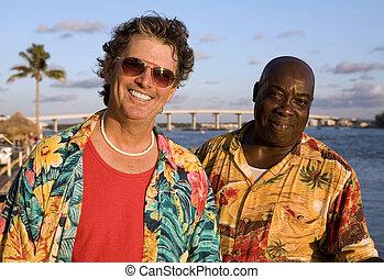 vrienden, op, tropische vakantie