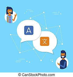 vrienden, op, vertaling, app, online, voor, sociaal, media