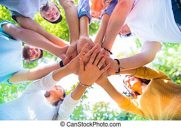 vrienden, samen, handen