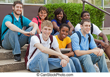 vrienden, scholieren, groep, multicultureel, universiteit