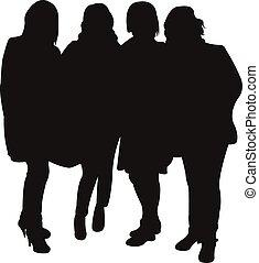 vrienden, silhouette, samen