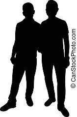 vrienden, silhouette, twee, samen