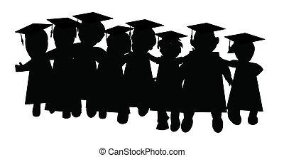 vrienden, stand, afgestudeerd