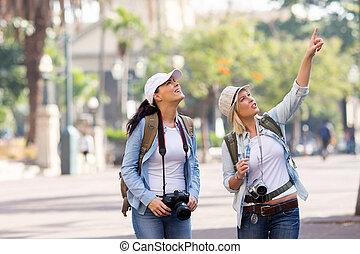 vrienden, vakantie, sightseeing
