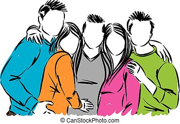 vrienden, vector, groep, illustratie, vrolijke