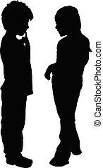 vrienden, vector, silhouette, klesten