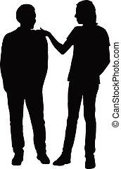 vrienden, vector, silhouette, samen