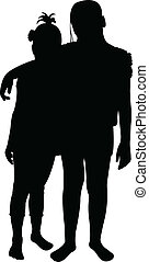 vrienden, vector, silhouette, twee