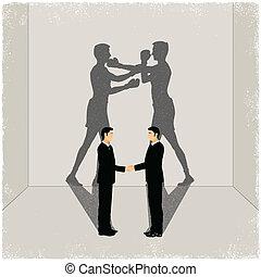 vrienden, werpende schaduw, van, enemity