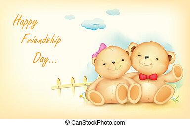 vriendschap, dag, vrolijke