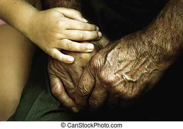 vriendschap, handen, liefde, kleinzoon, grootvader