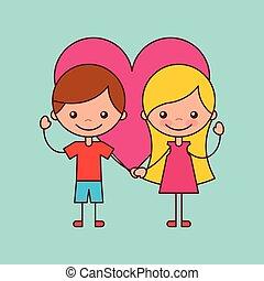 vriendschap, kinderen, vrolijke