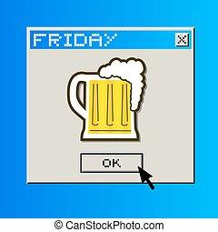 vrijdag, bier, boodschap