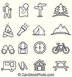 vrije tijd, kamperen, ontspanning, en, buitenactiviteiten, pictogram, set