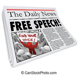 vrije toespraak, krant kop, nieuws, media, journalistiek,...