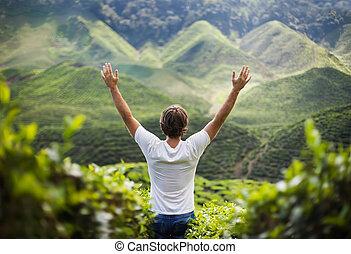 vrijheid, handen op, man, jonge