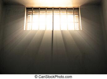 vrijheid, hoop, en, wanhoop, gevangenis, venster