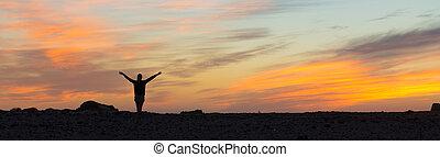 vrijheid, vrouw, het genieten van, sunset.