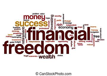 vrijheid, woord, financieel, wolk