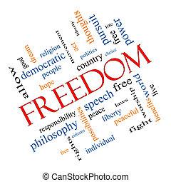 vrijheid, woord, wolk, concept, hoekig