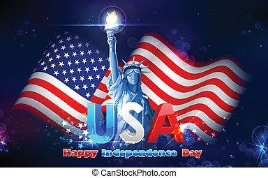 vrijheidsbeeld, met, amerikaanse vlag