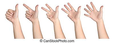 vrijstaand, 1-5, aantalteken, hand, houding