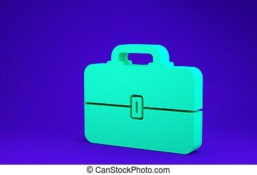 vrijstaand, 3d, doosje, werktuig, toolbox, groene, achtergrond., blauwe , concept., pictogram, render, minimalism, teken., illustratie