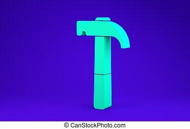 vrijstaand, 3d, werktuig, achtergrond., groen blauw, concept., hamerpictogram, render, repair., minimalism, illustratie