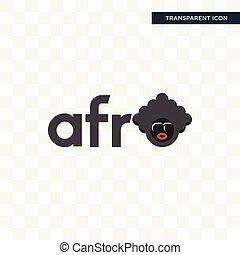 vrijstaand, achtergrond, vector, ontwerp, logo, afro, transparant, pictogram