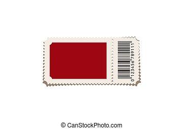 vrijstaand, achtergrond., vector, ontwerp, rood, mal, ticket, witte , element.