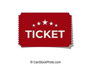 vrijstaand, achtergrond., vector, ontwerp, rood, ticket, witte , element.