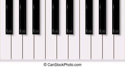 vrijstaand, achtergrond., vector, ontwerp, toetsenbord, muziek, piano, witte , element.