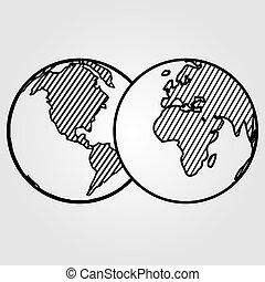 vrijstaand, achtergrond., vector, wereld, witte , pictogram
