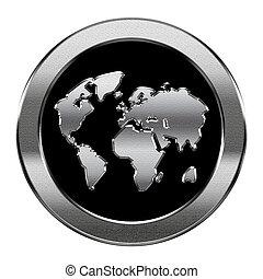 vrijstaand, achtergrond., wereld, zilver, witte , pictogram