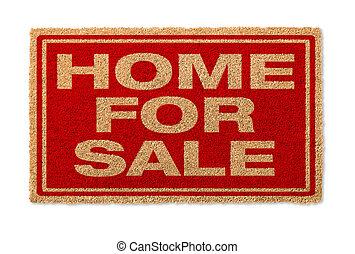 vrijstaand, achtergrond, witte , thuis, welkom, verkoop, mat