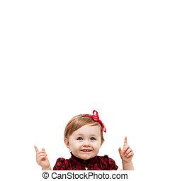 vrijstaand, baby meisje, benadrukkend, en, boven