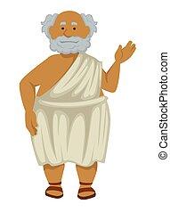 vrijstaand, bejaarden, griekse , filosoof, badjas, sandalen...