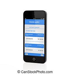 vrijstaand, beroeren, telefoon, met, beweeglijk, portemonaie, en, bankwezen, transactie, op, een, scherm
