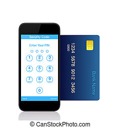 vrijstaand, beroeren, telefoon, met, knopen, voor, de, spelden, code, op, de, scherm, en, een, blauwe , kredietkaart