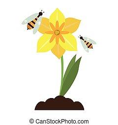 vrijstaand, bijtjes, bloem, spotprent